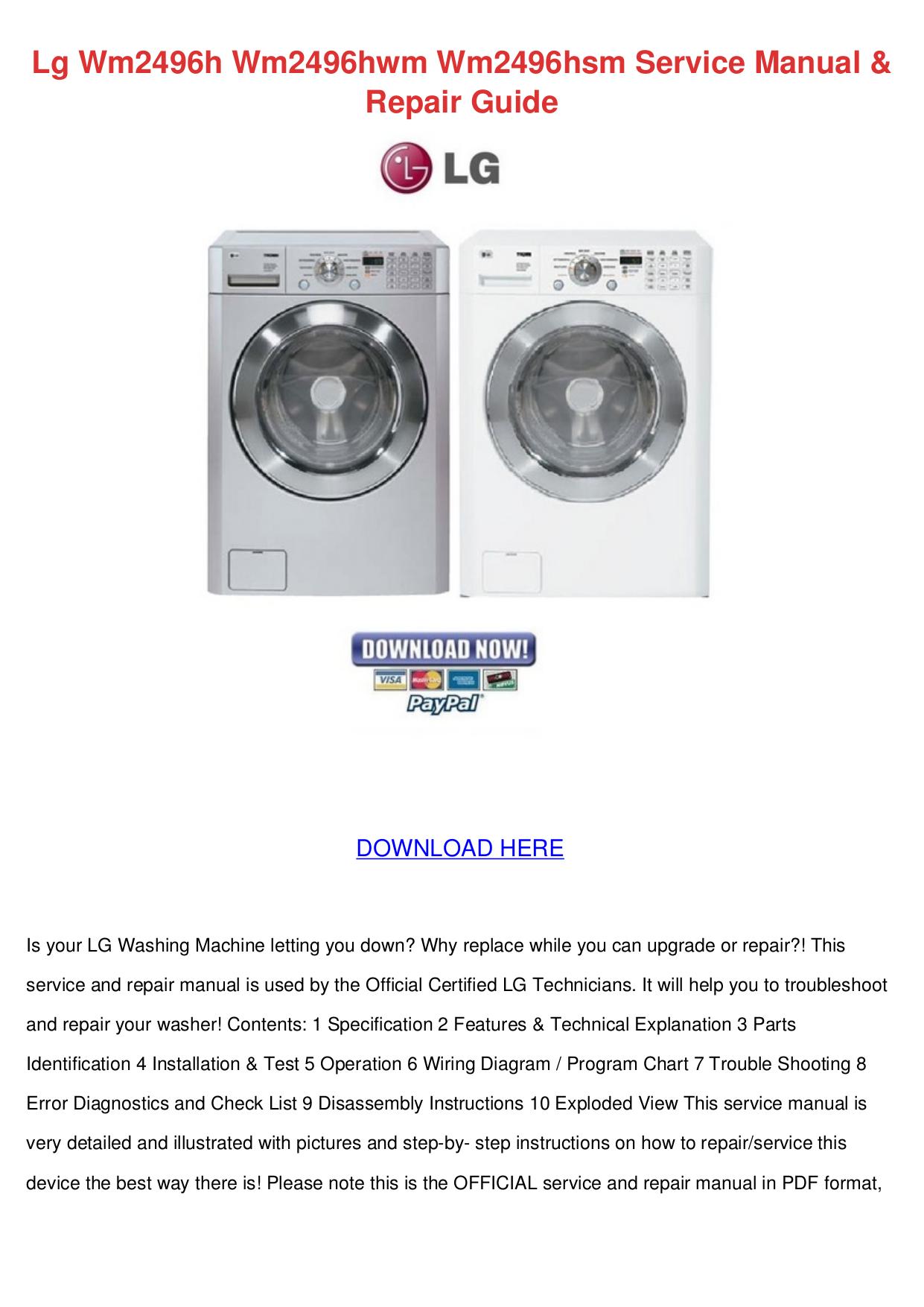 pdf for LG Washer WM2496H manual