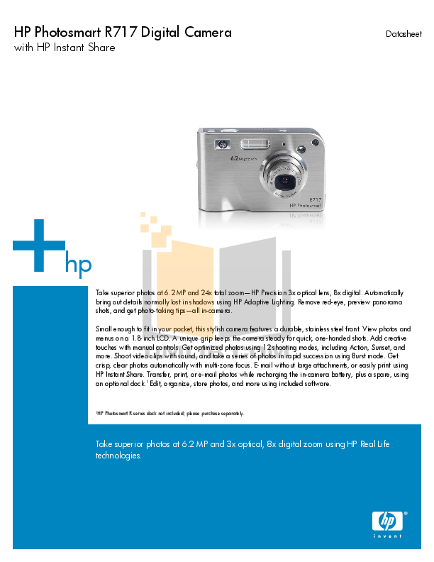 pdf for HP Digital Camera Photosmart R717xi manual