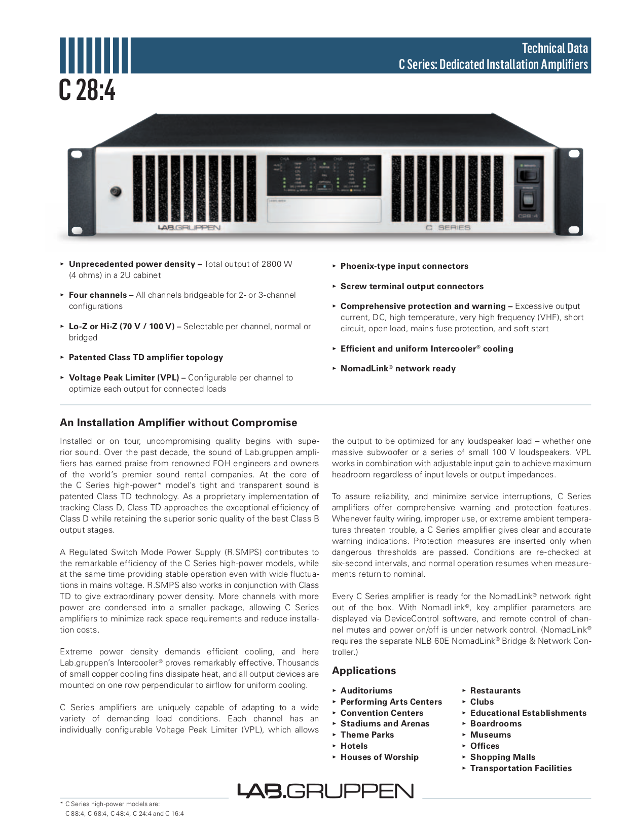 pdf for Lab.gruppen Amp C Series C 28 4 manual
