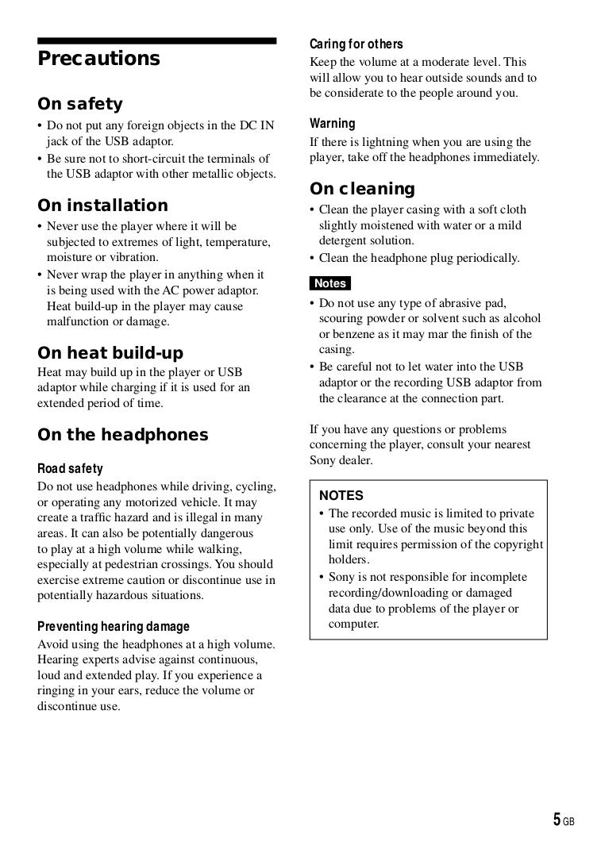 PDF manual for Sony MP3 Player Walkman NW-HD3