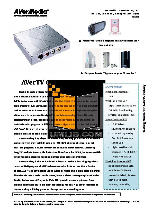 pdf for Avermedia Other AVerTV DVB-S TV Tuner Cards manual