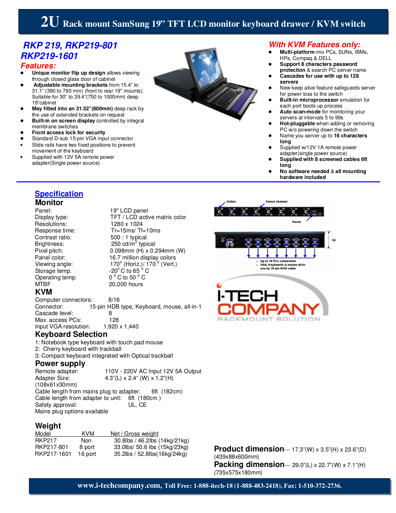 pdf for I-Tech Other RKP219-1601 Keyboard Drawers manual