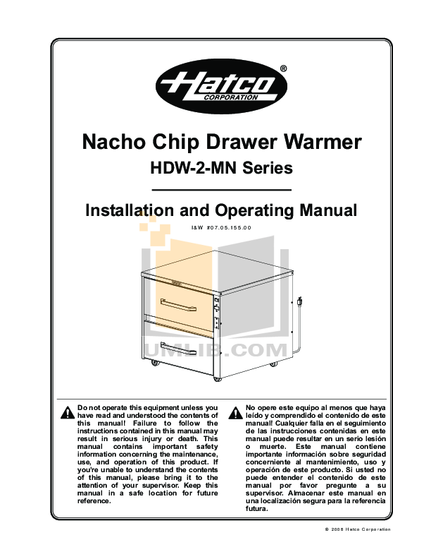 pdf for Hatco Other HDW-1N manual