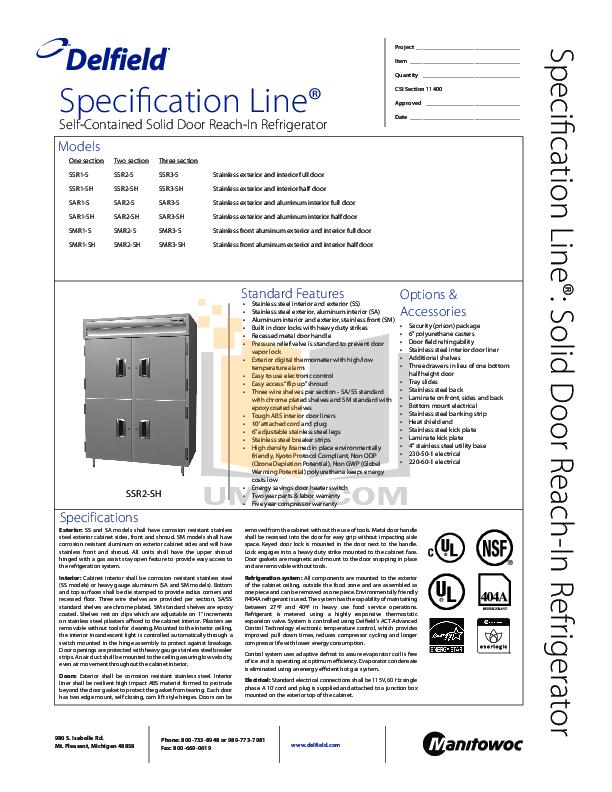 pdf for Delfield Refrigerator SAR3-SH manual