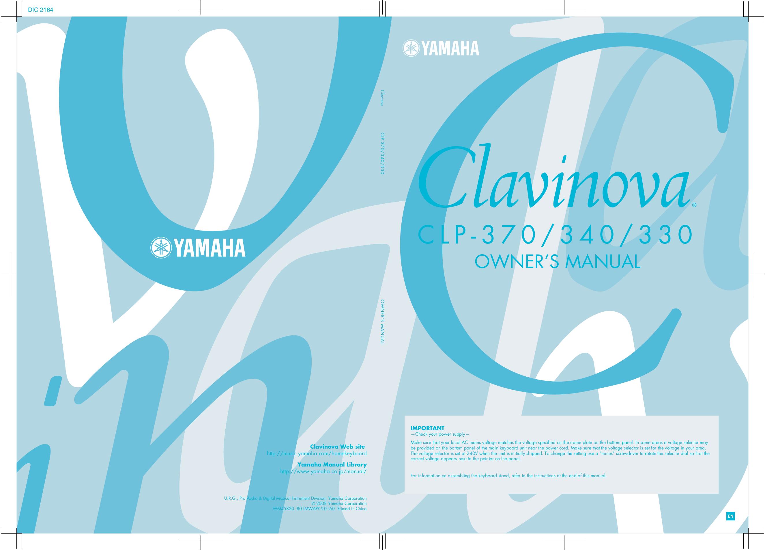 pdf for Yamaha Music Keyboard CLP-240 manual