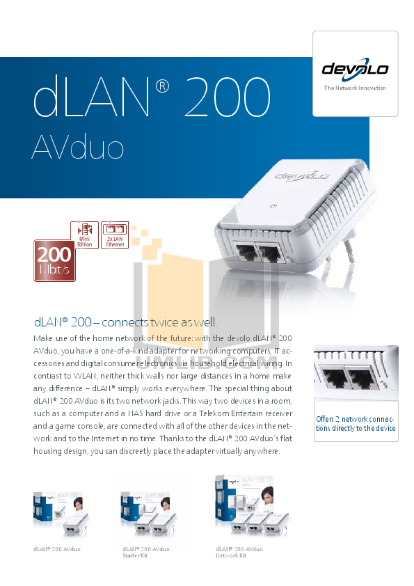 pdf for Devolo Other dLAN 200 AVplus Adapter manual