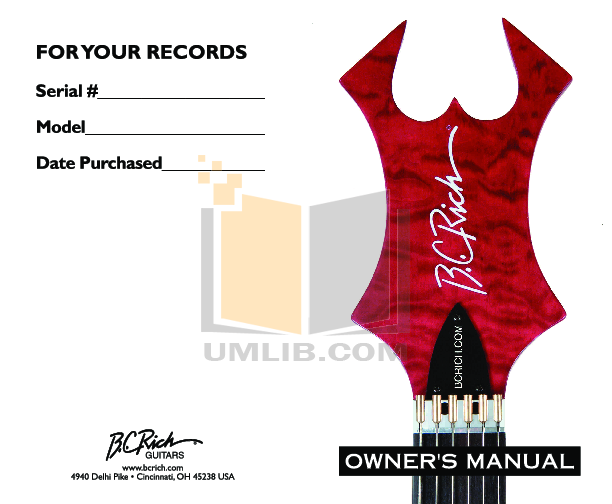 pdf for BCRich Guitar MBSTTR manual