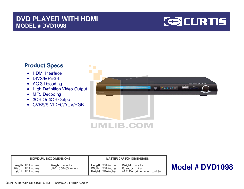 pdf for Curtis DVD Players DVD1098C manual