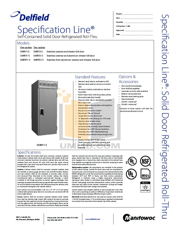 pdf for Delfield Refrigerator SSRRT1-S manual