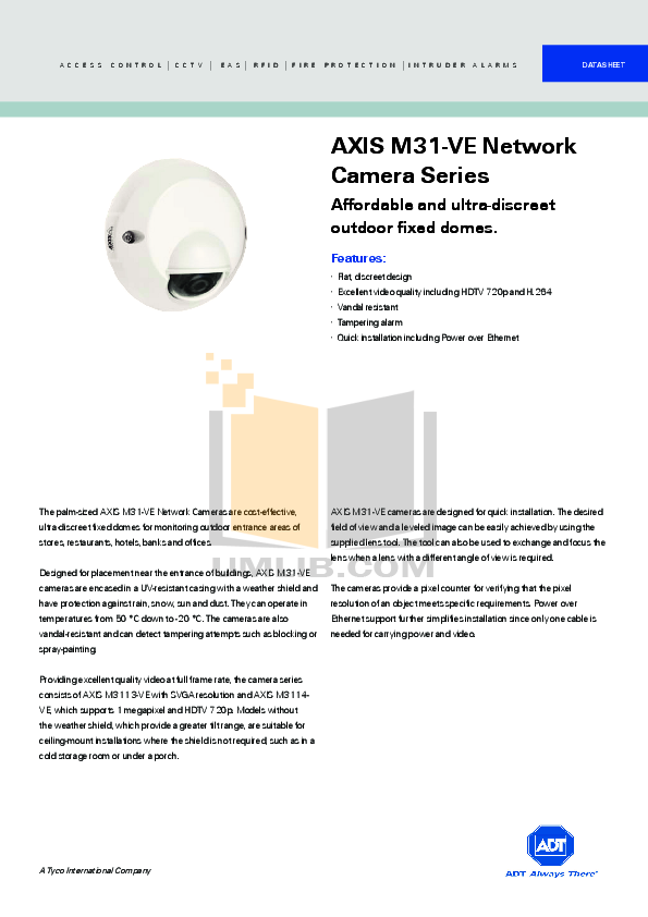 pdf for Axis Security Camera M3114-VE manual
