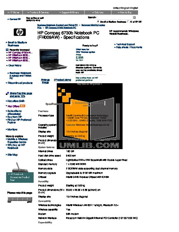 download free pdf for hp compaq 6730b laptop manual rh umlib com HP 6550B hp 6730b repair manual