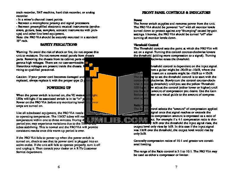 PDF manual for Art Amp Pro VLA