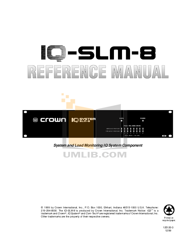 pdf for Crown Other IQ-SLM 8 Monitoring Device manual