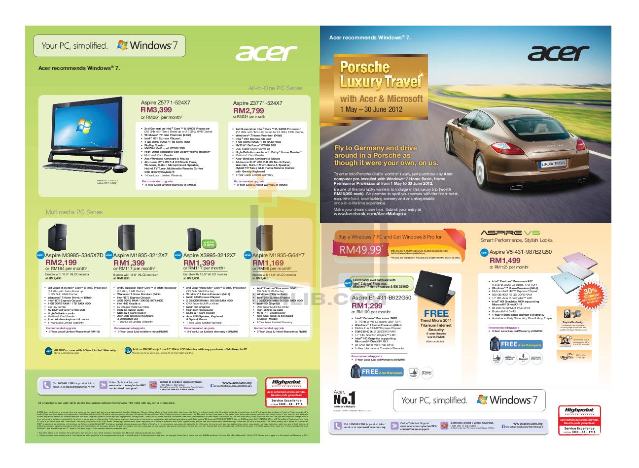pdf for Acer Desktop Aspire Z5771 manual