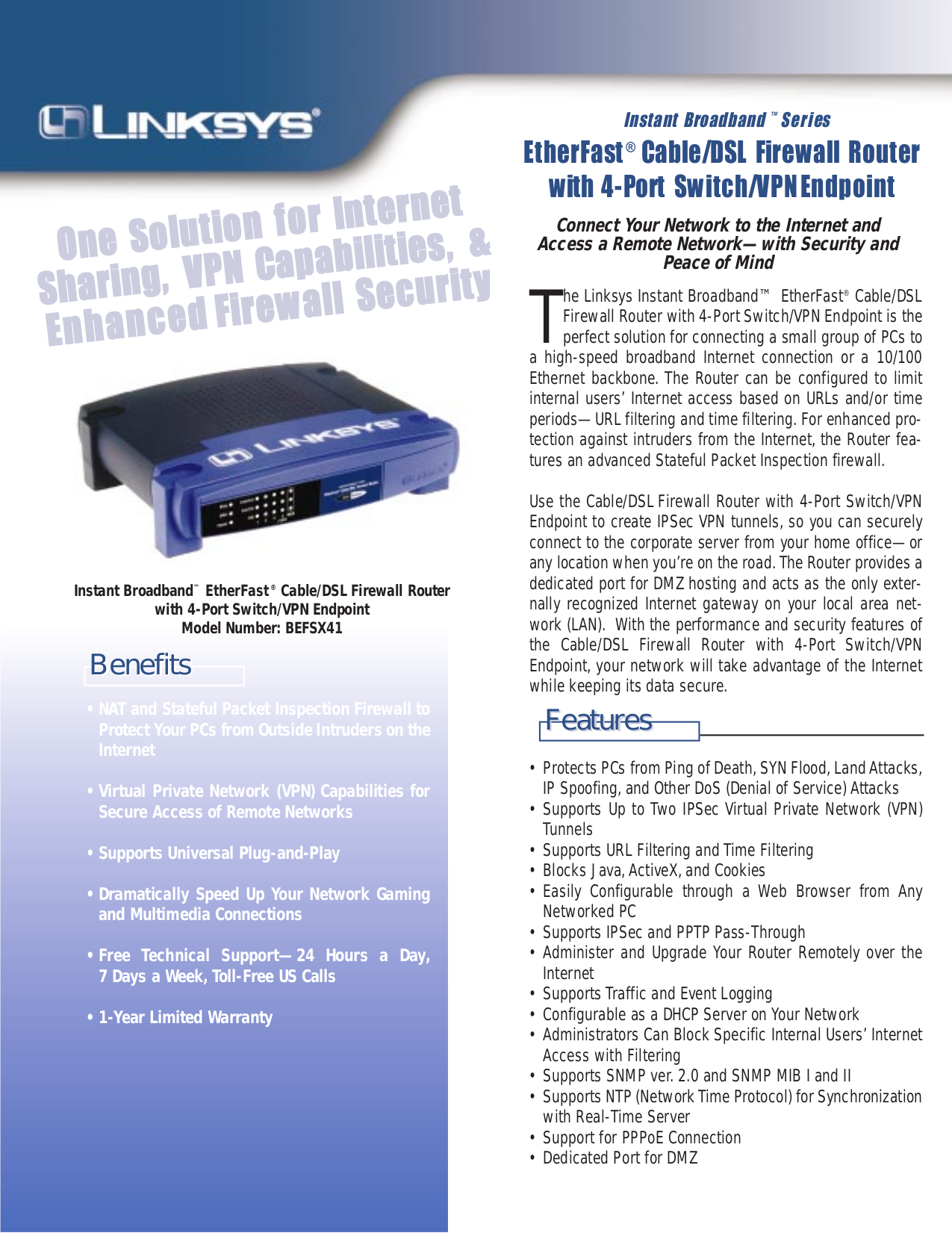 Download free pdf for Linksys BEFSX41 Router manual