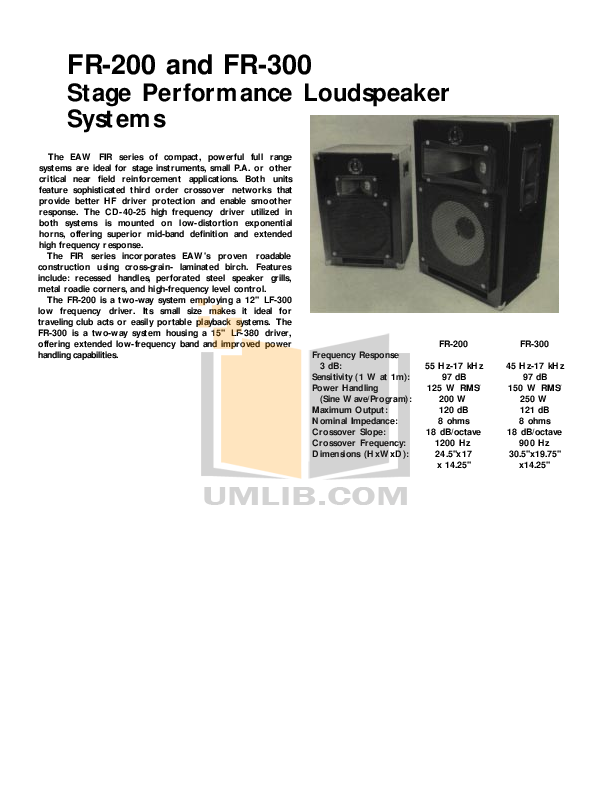 pdf for Eaw Speaker System FR300R manual