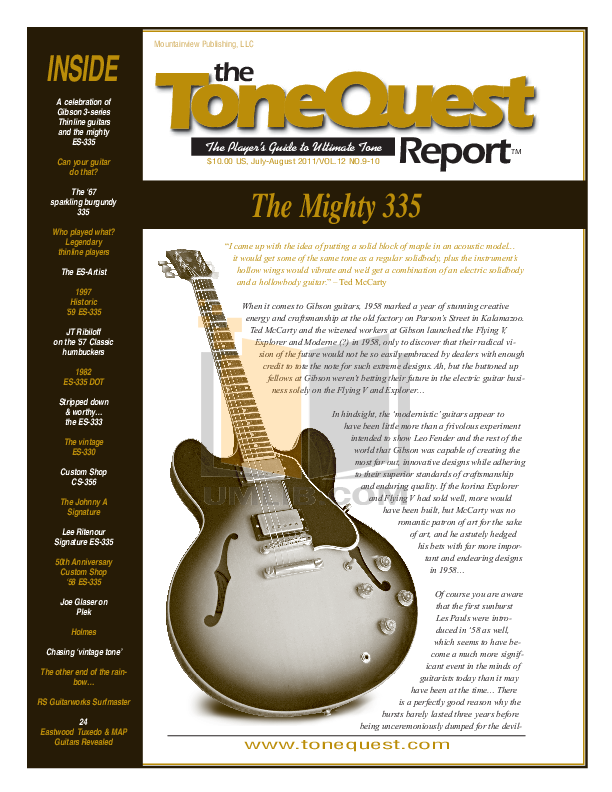 PDF manual for Gibson Guitar 1960 ES-335 VOS