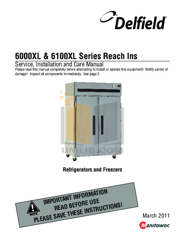 pdf for Delfield Other 6125XL-SR Refrigerators manual