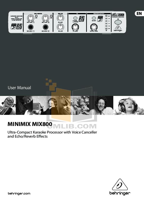 pdf for Behringer Amp MIX800 manual