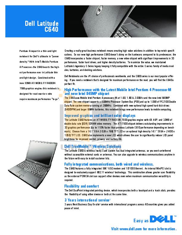 download free pdf for dell latitude c640 laptop manual rh umlib com dell latitude c540/c640 service manual Dell Latitude Tablet