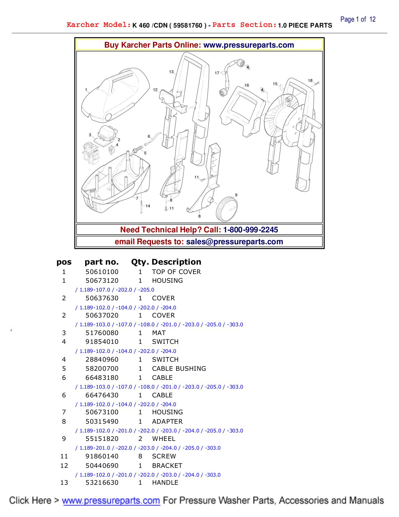 Download free pdf for Karcher K 460 Pressure Washers Other