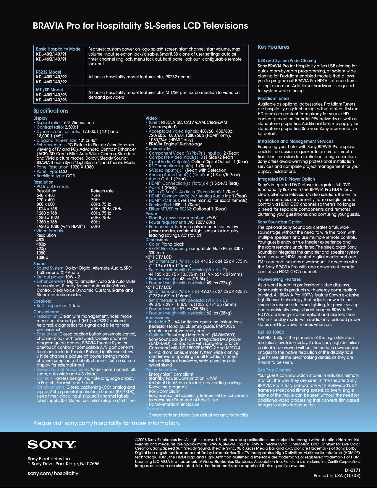 PDF manual for Sony TV BRAVIA KDL-40SL140