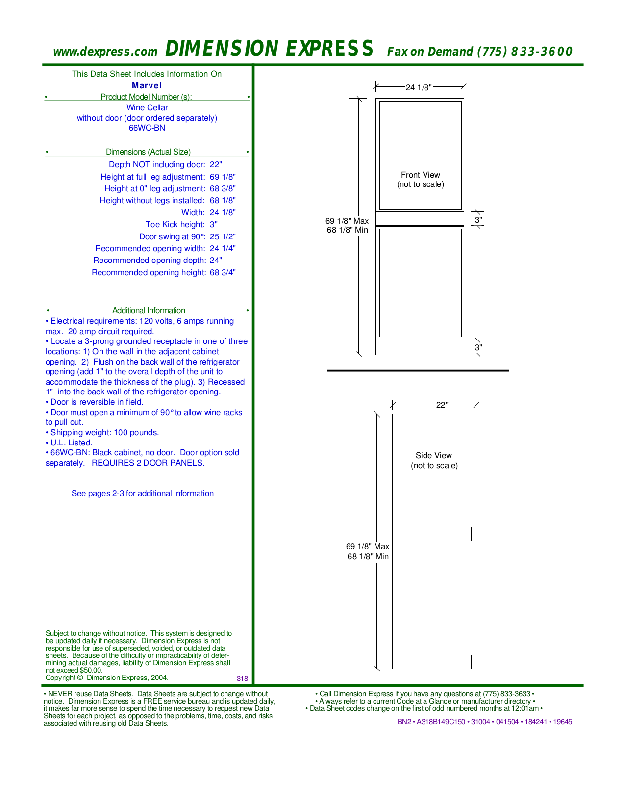 pdf for Marvel Refrigerator 66WCM-BN manual
