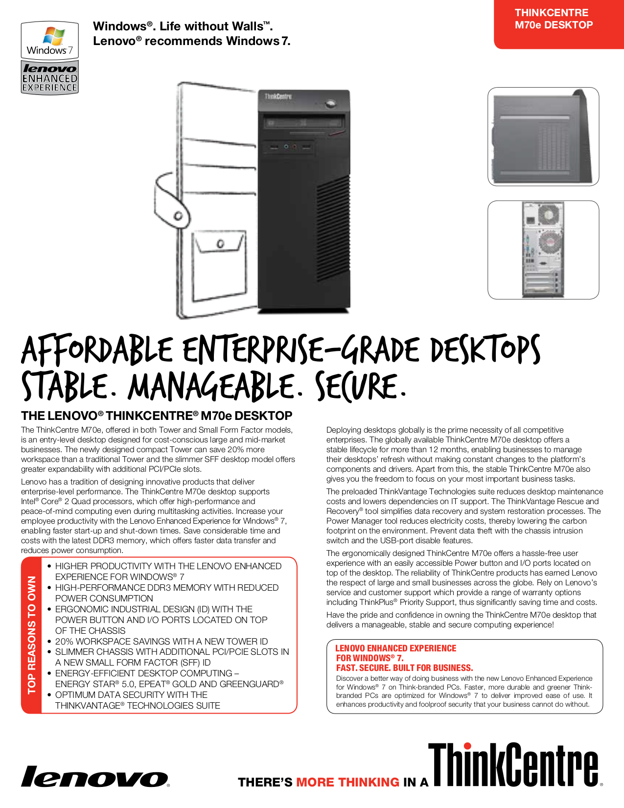 pdf for Lenovo Desktop ThinkCentre M70e 0833 manual
