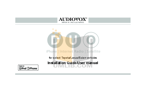 pdf for Audiovox Car Receiver ACC-40 manual