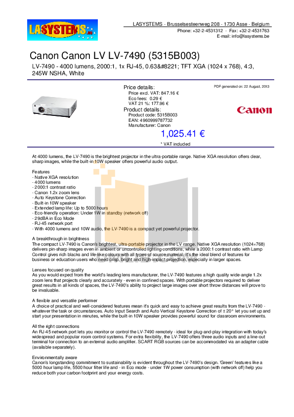 pdf for Canon Projector LV-7490 manual