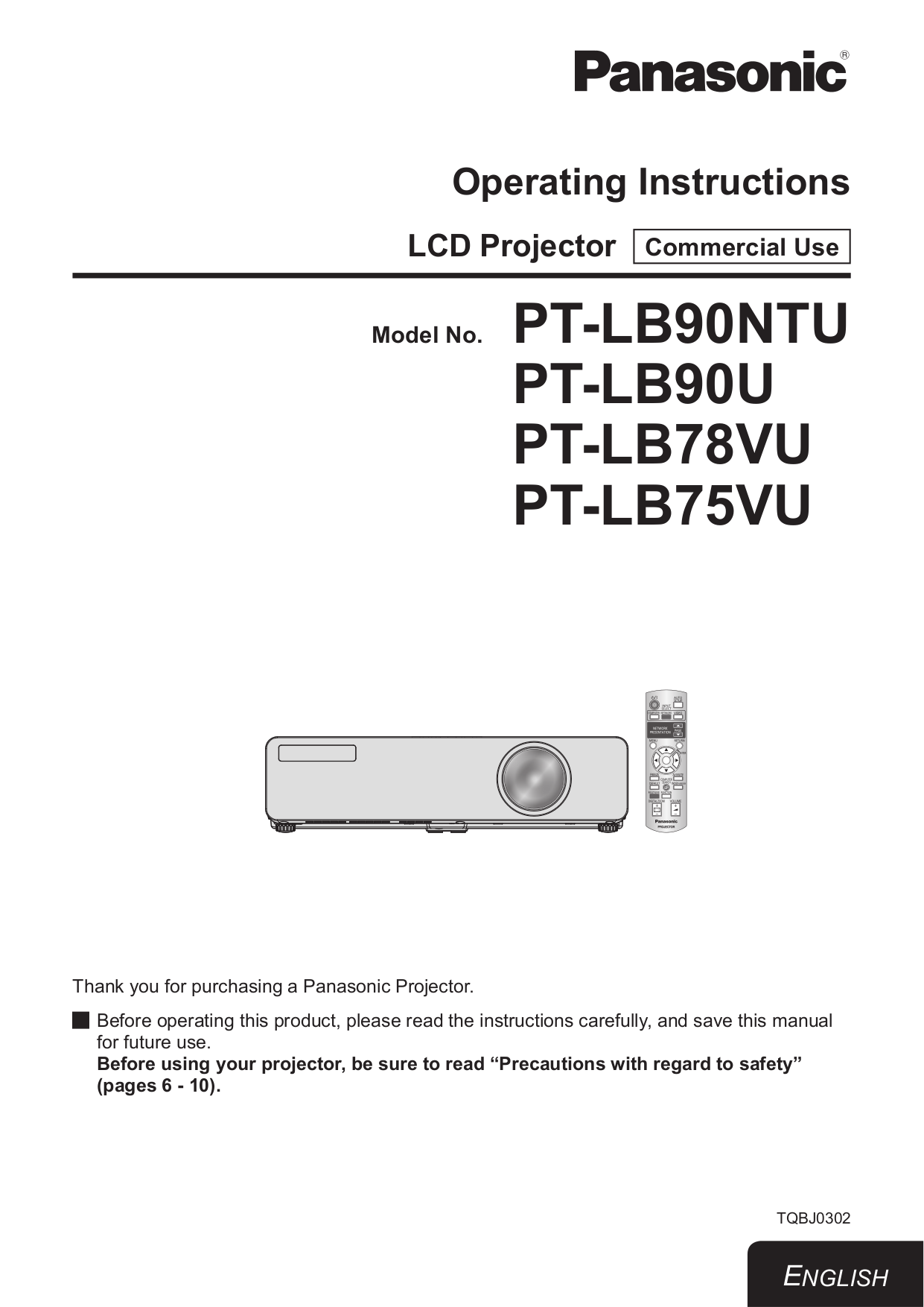 pdf for Panasonic Projector PT-D4000U manual