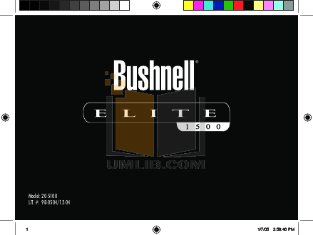 pdf for Bushnell Other Elite 1500 20-5100 Laser RangeFinder manual
