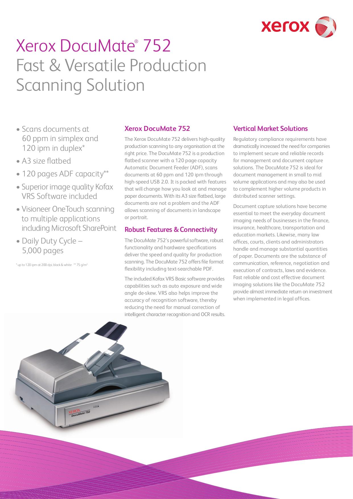 pdf for Xerox Scanner DocuMate 150 manual