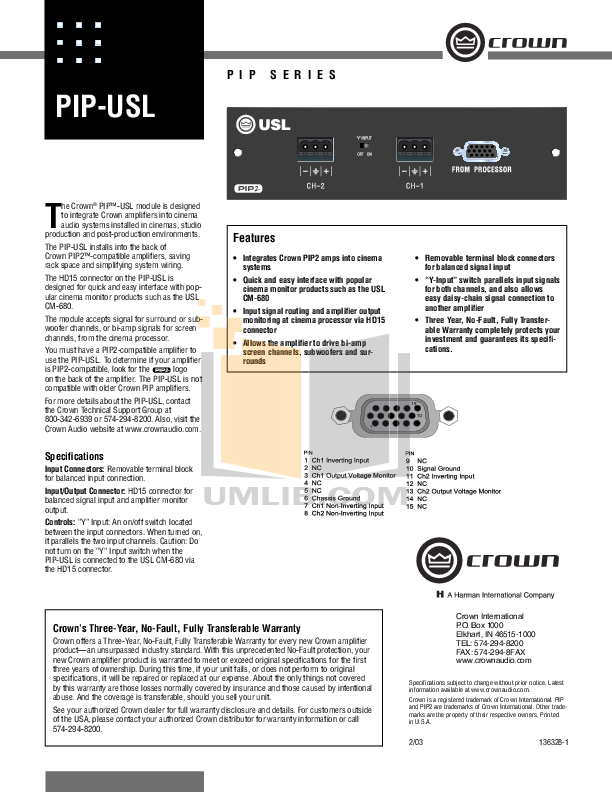 pdf for Crown Other PIP-USL Input Processors manual