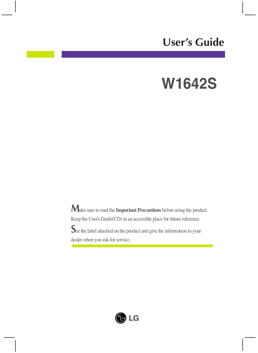 LG Monitor W1642S pdf page preview