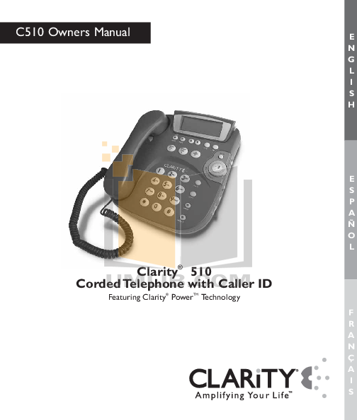 pdf for Clarity Telephone C510 manual
