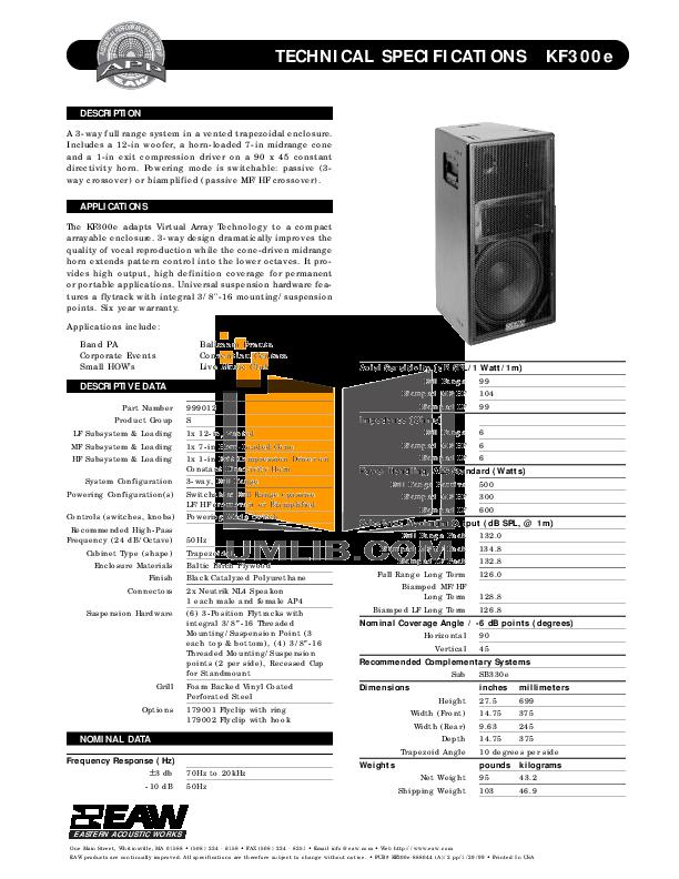 pdf for Eaw Speaker System KF300i manual