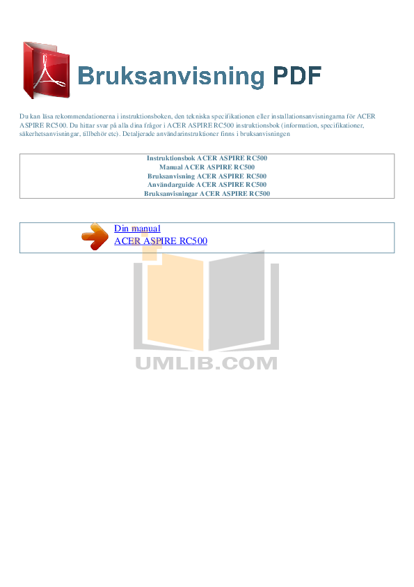 pdf for Acer Desktop Aspire RC500 manual