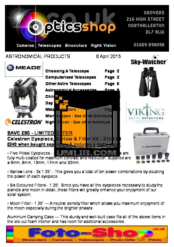 pdf for Celestron Other S-55F Spotting Scope manual