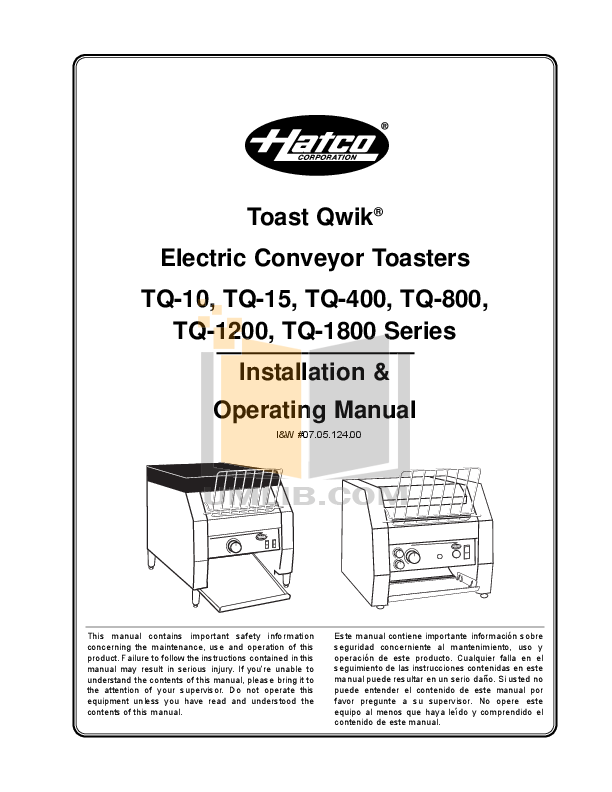 pdf for Hatco Other TQ-10 manual