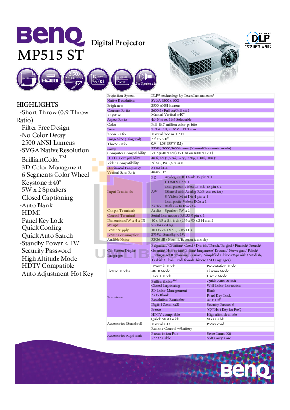 pdf for Benq Projector MP515 manual