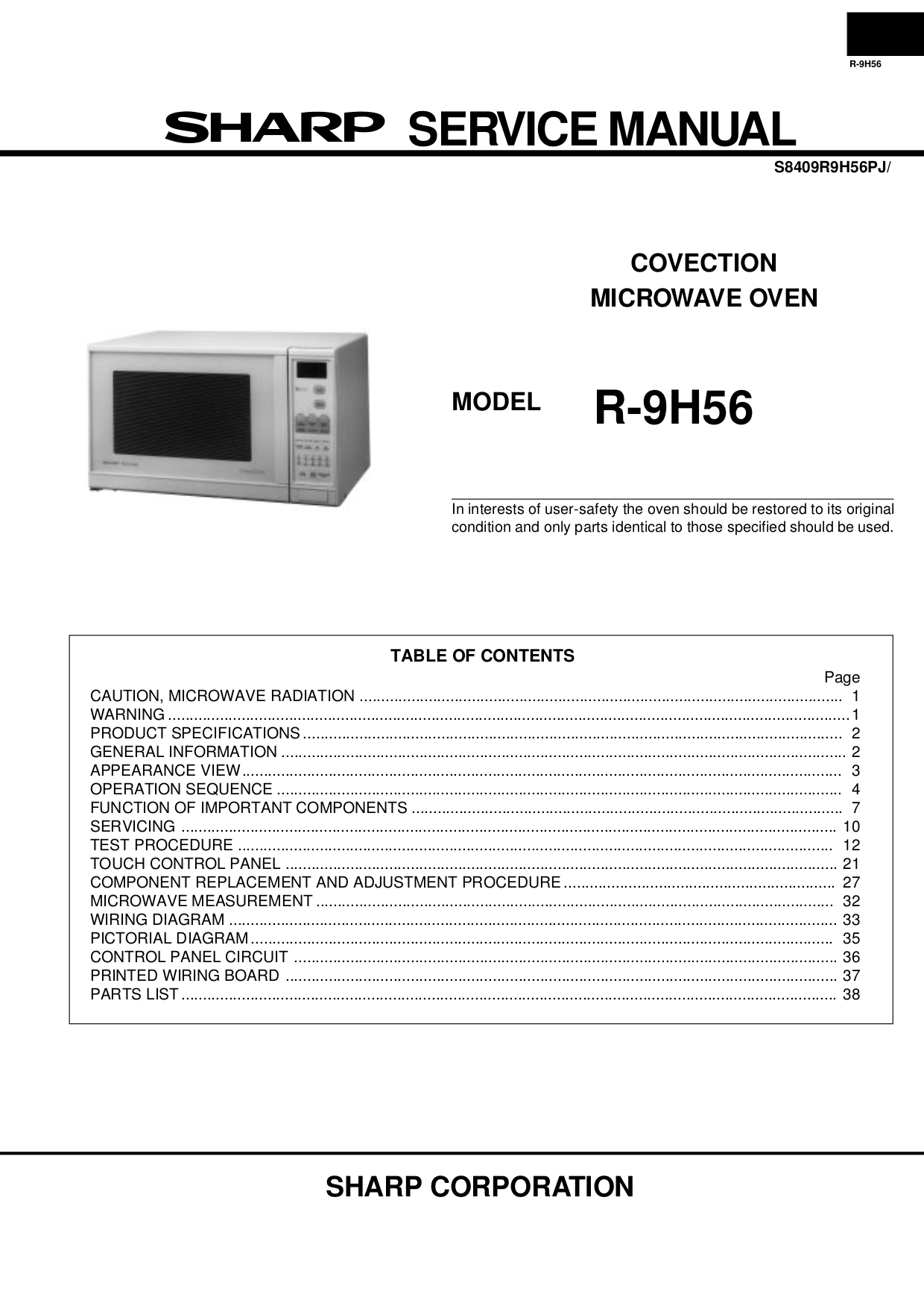 Download Free Pdf For Sharp R 1500 Microwave Manual Drawer Diagram And Parts List Microwaveparts