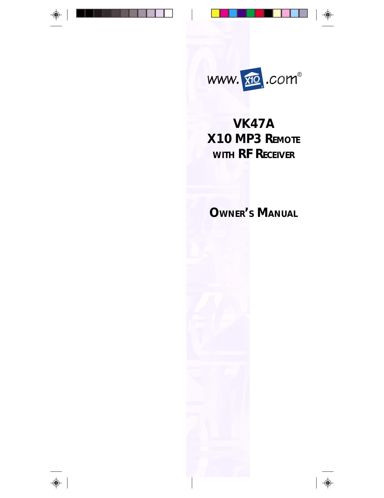 pdf for X10 Remote Control VK47A manual