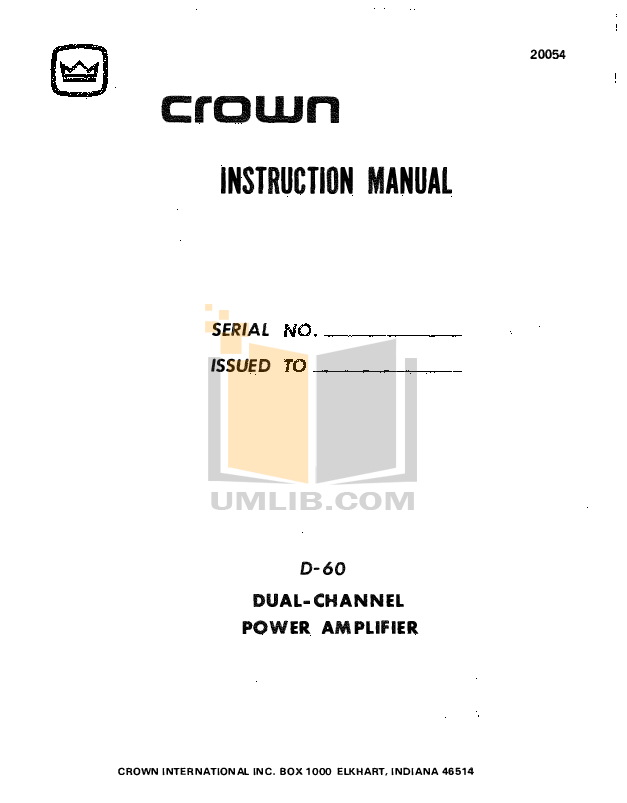 pdf for Crown Other VFX-2 Crossovers manual