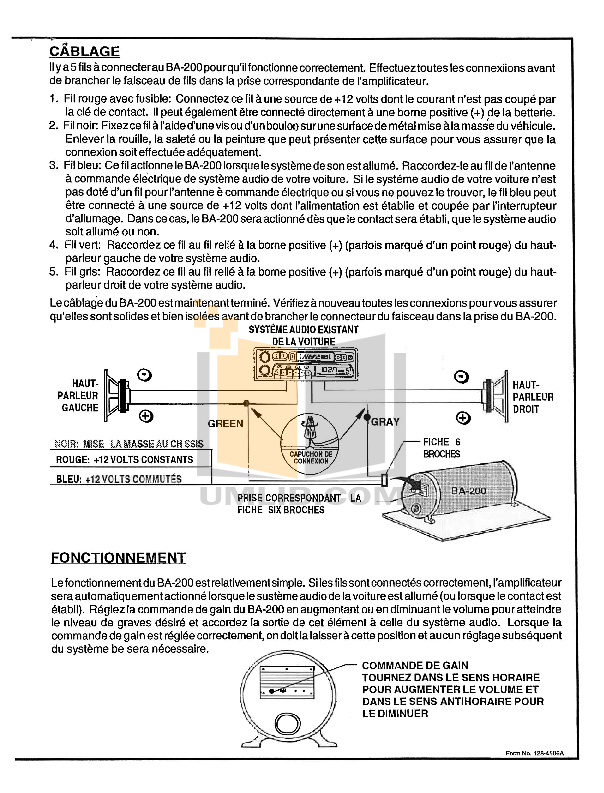 PDF manual for Audiovox Car Amplifier BA200