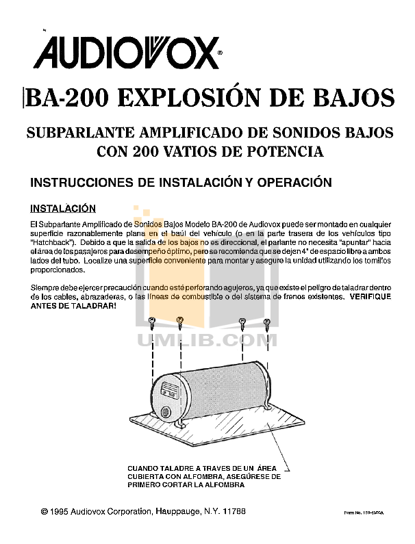 PDF manual for Audiovox Car Amplifier BA200 on