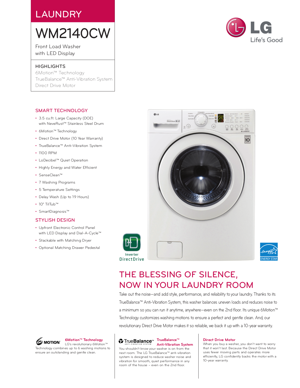 LG Washer WM2140CW Spec Sheet.pdf 0 download free pdf for lg wm2140cw washer manual LG True Balance Not Draining at gsmportal.co