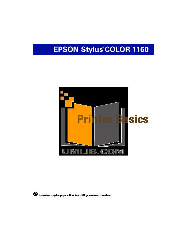 pdf for Epson Printer Stylus Color 1160 manual