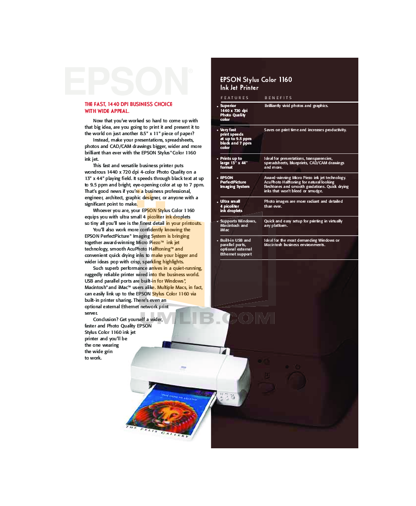 pdf for Epson Printer Stylus Color 1160 manual