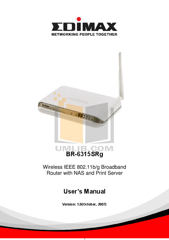 pdf for Edimax Wireless Router BR-6315SRg manual